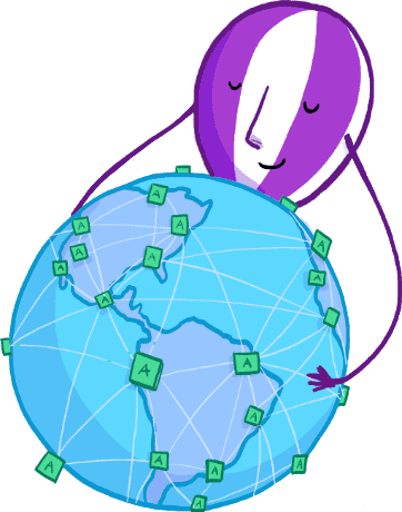 The Fly balloon mascot holding globe that shows app locations all around the world